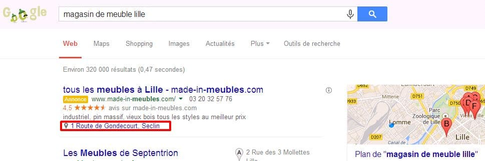 extension de lieu adwords