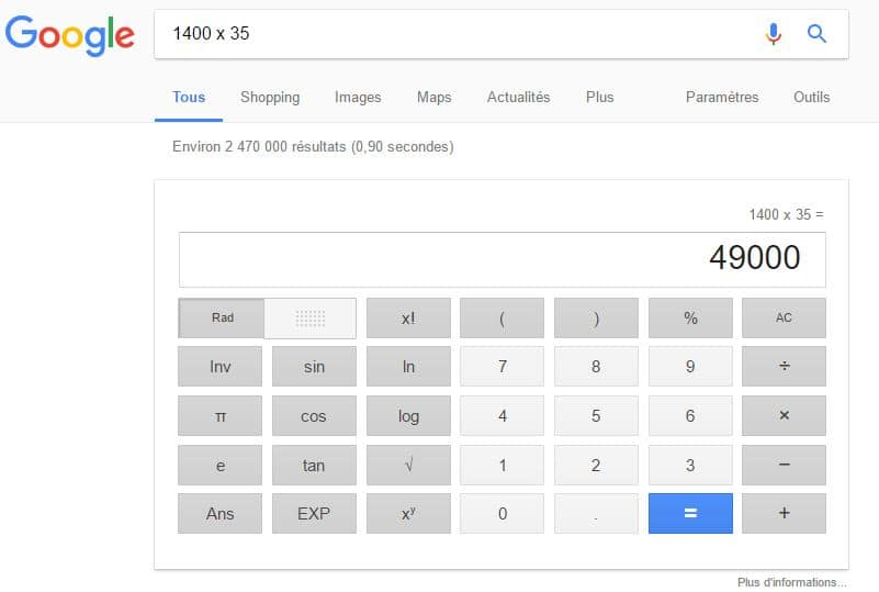 quick answer box calculatrice google