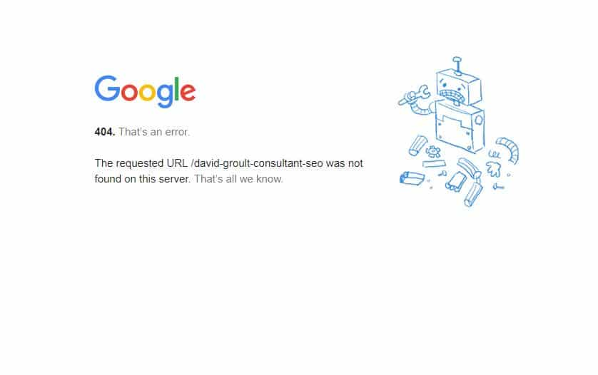 erreur 404 google